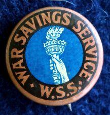 WAR SAVINGS SERVICE PINBACK WORLD WAR 1 - ORIGINAL BUTTON