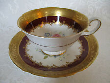 ROYAL GRAFTON BONE CHINA FOOTED TEA CUP & SAUCER SET GOLD ENCRUSTED FLORAL RED