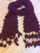 Hand Knitted Sirdar Snowball Wool Scarf In Berry.