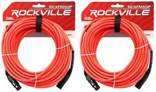 2 Rockville RCXFM50P-R Red 50' Female to Male REAN XLR Mic Cable 100% Copper