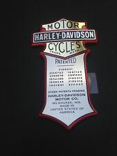 Harley Davidson Patented Nameplate Oil Tank Nameplate  Medallion  MADE IN USA
