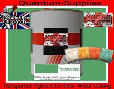 Transparente Pigmento Verde 250g Para poliéster Gelcoat / Resina y agua transparente