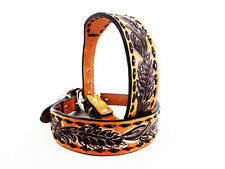 "12"" HANDMADE WESTERN COWBOY STYLE BUCK STITCH TOOLED LEATHER CANINE DOG COLLAR"