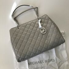 Michael Kors Susannah Pearl Grey Quilted Leather Chain Shoulder Bag Large Tote