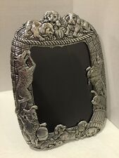 """Rare Vintage Arthur Court Photo Frame, 5""""x7"""", Pewter-look Metal, Puppy Dogs 1987"""