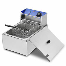 10L 2500W Electric Deep Fryer Countertop Commercial Basket French Fry Restaurant