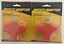 2 X Triangle Triple TAP-Heavy Duty 3-Outlet Grounded PVC Adapter-UL Listed