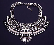 DARK SILVER METAL & GEM MASAI TRIBE INSPIRED ADJUSTABLE STATEMENT NECKLACE(CL31)