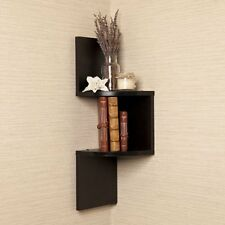 Danya B Laminated Corner Shelf in Black Finish