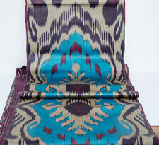 Blue burgundy beige ikat fabric by the yard, ikat fabric, table runner, ikats