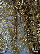 "BLACK MESH W/GOLD BROWN EMBOIRDERY GOLD SEQUIN LACE FABRIC 52"" WIDE 1 YARD"
