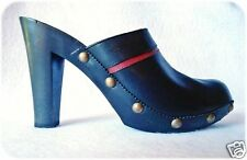 Tommy Hilfiger Size 5.5 High Heel Mules Leather Black and Red Studs Shoes Heels