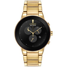 Mens Citizen Eco-Drive Gold Stainless Steel Black Dial Chrono Watch AT2242-55E
