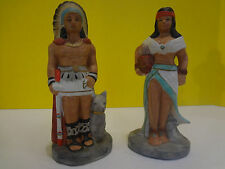 """Vintage Ceramic Indian Chief and Princess 8"""" Figurines ***FAST S/H***"""