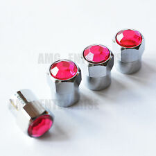 Pink Diamante Hex Alloy Dust Valve Caps for Mazda MX5 RX7 RX8 CX3 CX5 CX7 Bongo