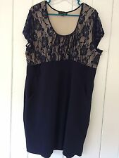 Navy Stretch Lace Dress with Pockets Size 3X