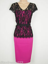 BNWT Savoir Satin & Black Lace Special Occasion Pencil Dress Size 14 RRP £62