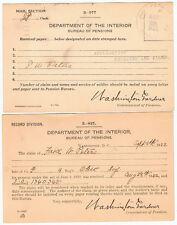 Vintage Old 1922 US Military Dept of Interior Pension Bureau Postcard Lot Ohio