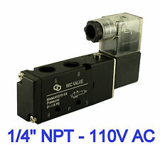 "1/4"" Pneumatic 4 Way 2 Position Electric Solenoid Air Valve Single Coil 110V AC"