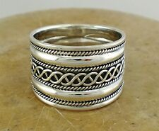 EXOTIC .925 STERLING SILVER BALI STYLE CIGAR BAND RING size 10  style# r1902