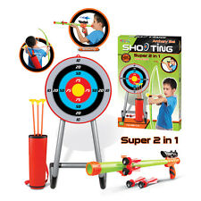 2 In 1 Archery Bow and Arrow & Blow Shooter Set Game Target Arrows Kids Boys