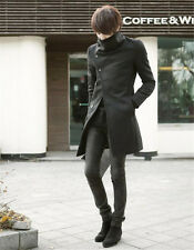 Men's Slim Fit Stylish Oblique Single Breasted Trench Coat Long Jacket Outwear