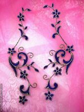 GB90 Embroidered Appliques Purple Gold Flower Mirror Pair Vine Iron On 9""