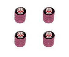Mexican Day of the Dead Skull - Tire Rim Wheel Valve Stem Caps - Pink