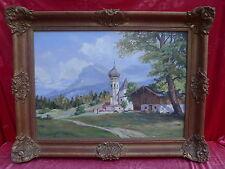 emebellecedor,antiguo pintura__Aldea de la montaña la mayor parte Watzmann__Para