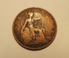 Old Collectible Bronze Britain England 1 Penny Dated 1918 King George V