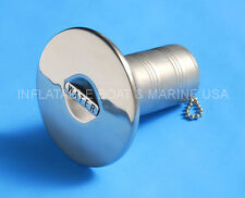 "Boat Deck Fill / Filler Keyless Wide Cap 1-1/2"" Water Marine 316 Stainless Steel"