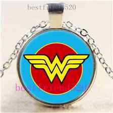 Wonder Woman PHoto Cabochon Glass Tibet Silver Chain Pendant Necklace#C35