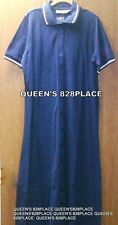 New All American Comfort Women's L Large Navy Blue Polo Long Dress Short Sleeve