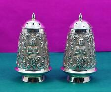 2 vintage Asian sterling silver salt & pepper shakers Buddha scene to sides 120g