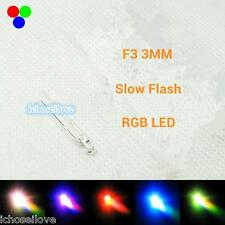 10Pcs F3 3mm Colorful Rainbow Slow Flashing Flash RGB Red Blue Green LED Leds
