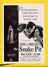 SNAKE PIT 1948 Olivia De Havilland, Mark Stevens, Leo Genn TRADE ADVERT