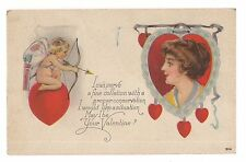 CUPID VALENTINE'S Day POEM Vintage Postcard Woman's Face in Profile Red Hearts