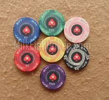 EPT Cash Ceramic Poker Chips - 7 chip sample - Casino Quality