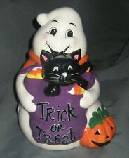 CUTE! DAVID'S COOKIES HALLOWEEN COOKIE JAR TRICK OR TREAT GHOST W/CAT AIR TIGHT