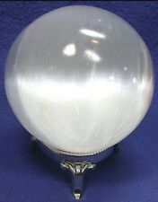 75 mm Selenite Sphere With Stand White Selenite Crystal Specimen Gypsum Chakra.
