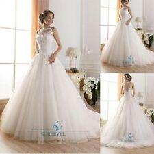 Neu Spitze A-Linie Brautkleider Weiß Hochzeitskleid Becherhülse rückenfrei 32-46