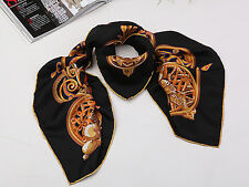 Large Square Silk Twill Scarf with Hand Rolled Hem Black and Gold XWC194
