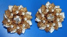 Beautiful Vintage 50's Signed Designer BEAUJEWELS PEARL Rhinestone Earrings Pair