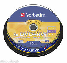 VERBATIM DVD+RW 43488-rewriteable re-recordable - SPINDLE 10 Pacco