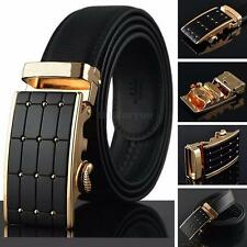 Business Mens Leather Belt Automatic Buckle Belts Waist Strap Waistband New