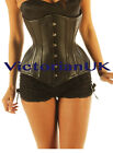 Genuine Leather Perforated Corset Tight lacing steel boned waist cincher