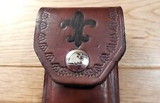 """New  Brown 5"""" leather knife sheath - case - Boy Scout  theme Eagle"""