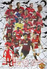 "MANCHESTER UNITED ""TEAM WITH BATS & DEVIL"" POSTER - Soccer, UEFA League Football"
