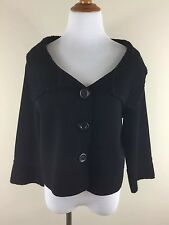 CAbi cardigan Sweater M knit top solid Black Cropped Sleeve loose fit button
