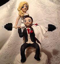 Personalizzata il FIMO CAKE TOPPER-Peso Sollevamento sposo sposa con